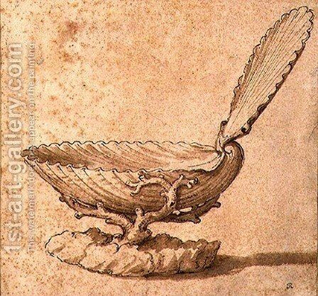 Design for Shell shaped covered Salt Cellar by Giulio Romano (Orbetto) - Reproduction Oil Painting