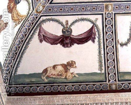 The Camera con Fregio di Amorini Chamber of the Cupid Frieze detail of a dog and a puppy, 1520s by Giulio Romano (Orbetto) - Reproduction Oil Painting