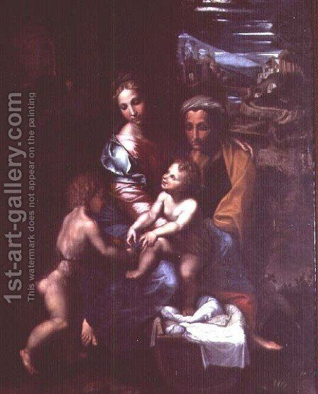 Madonna and Child with St. Anne and St. John the Baptist by Giulio Romano (Orbetto) - Reproduction Oil Painting