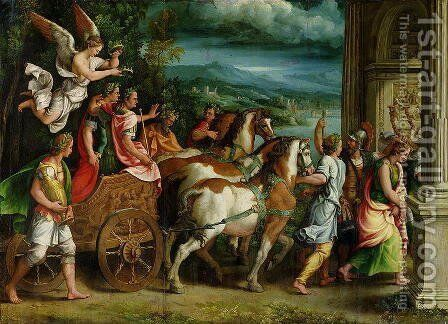 The Triumph of Titus and Vespasian, c.1537 by Giulio Romano (Orbetto) - Reproduction Oil Painting