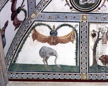 The Camera con Fregio di Amorini Chamber of the Cupid Frieze detail of an ostrich, 1520s by Giulio Romano (Orbetto) - Reproduction Oil Painting