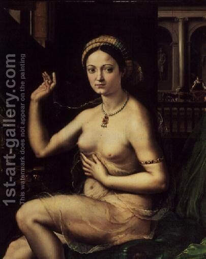 Woman with a Mirror by Giulio Romano (Orbetto) - Reproduction Oil Painting