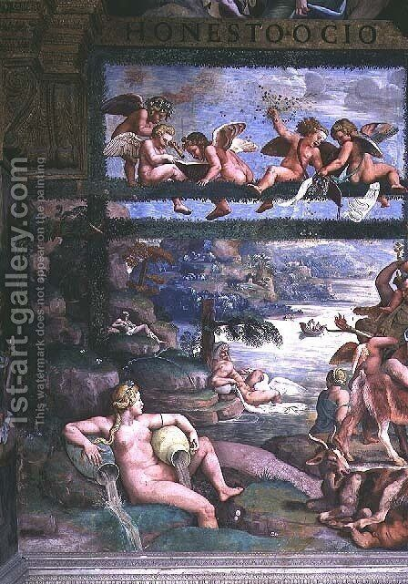 The Rustic Banquet celebrating the marriage of Cupid and Psyche, detail depicting river gods and goddesses, east wall, from the Sala di Amore e Psiche, 1528 by Giulio Romano (Orbetto) - Reproduction Oil Painting