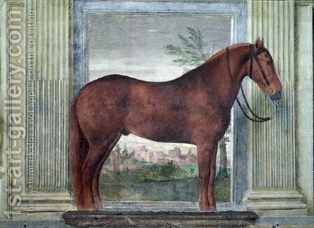 Sala dei Cavalli, detail showing a portrait of a chestnut horse from the stables of Ludovico Gonzaga III of Mantua, its cheek branded with a G, 1528 by Giulio Romano (Orbetto) - Reproduction Oil Painting
