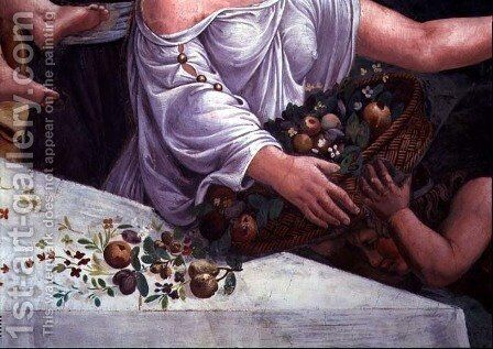 A basket of fruit and flowers, detail of the rustic banquet celebrating the marriage of Cupid and Psyche from the Sala di Amore e Psiche, 1528 by Giulio Romano (Orbetto) - Reproduction Oil Painting