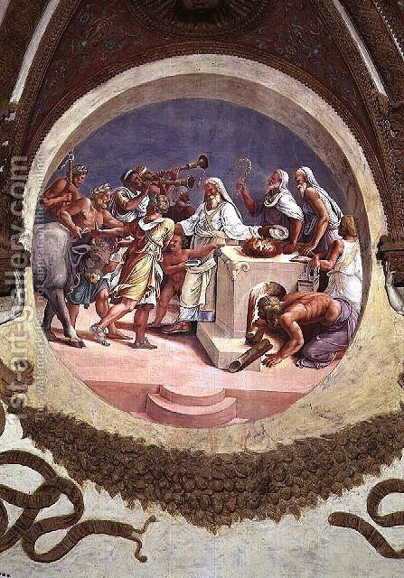 Sacrifice of an Ox, from the Camera dei Venti, 1528 by Giulio Romano (Orbetto) - Reproduction Oil Painting