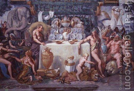 The noble banquet celebrating the marriage of Cupid and Psyche, detail showing Dionysius and Silenus to the right of a table bearing the dinner service, from the Sala di Amore e Psiche, 1528 by Giulio Romano (Orbetto) - Reproduction Oil Painting