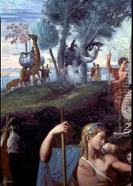 The noble banquet celebrating the marriage of Cupid and Psyche, detail showing the head of Apollo with a procession of exotic animals in the background, from the Sala di Amore e Psiche, 1528 by Giulio Romano (Orbetto) - Reproduction Oil Painting