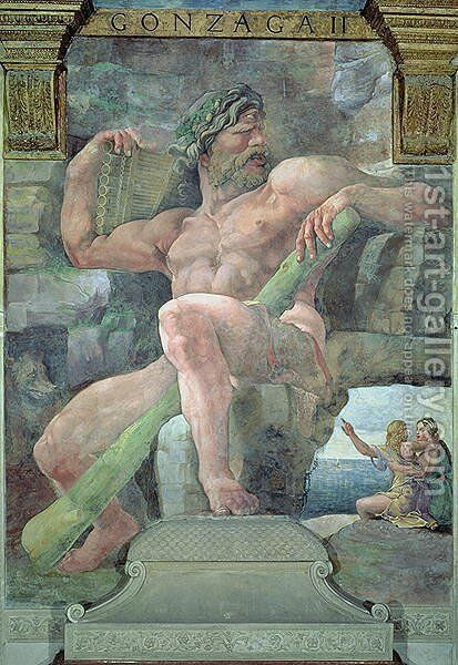 The giant Polyphemus with Galatea and the herdsman Acis, from the Sala di Amore e Psiche, 1528 by Giulio Romano (Orbetto) - Reproduction Oil Painting