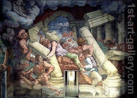 Sala dei Giganti, detail of the destruction of the giants by Jupiters thunderbolts, 1536 by Giulio Romano (Orbetto) - Reproduction Oil Painting