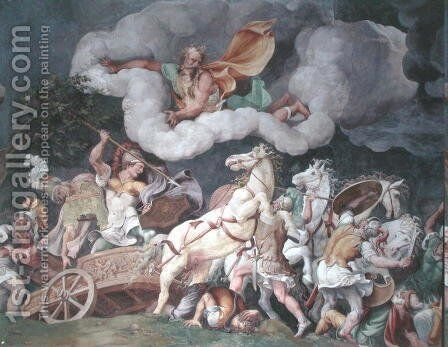 Achilles dragging the body of Hector round on his chariot, detail from the ceiling of the Sala di Troia, c.1538 by Giulio Romano (Orbetto) - Reproduction Oil Painting