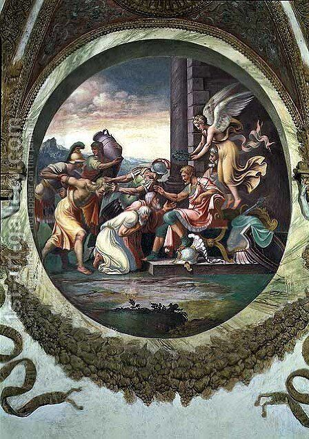 Scene showing that those born under the sign of Aquarius in conjunction with the constellation of Aquila are imparted with warlike virtues, symbolised by a scene of triumph, from the Camera dei Venti, 1528 by Giulio Romano (Orbetto) - Reproduction Oil Painting