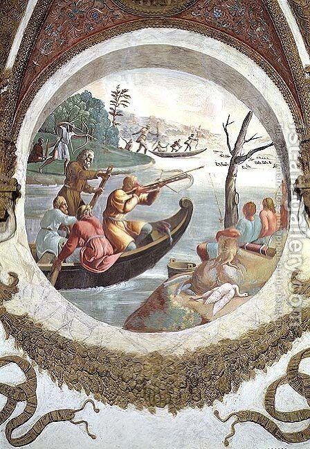 Scene showing that those born under the sign of Libra in conjunction with the constellation of Sagitta or the Arrow will be skilled at archery, symbolised by a hunt with archers shooting ducks with cross-bows and men fishing with bows and arrows, from the by Giulio Romano (Orbetto) - Reproduction Oil Painting
