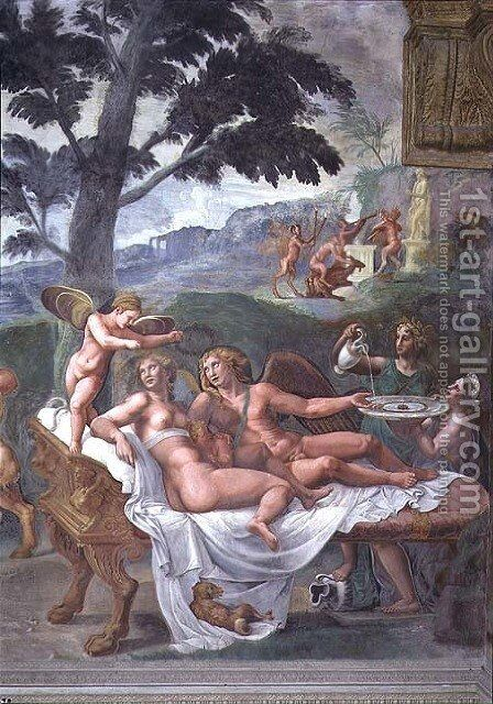 Cupid and Psyche with their daughter Voluptuousness, waited on by Ceres who pours water into a basin held by Juno, detail of the noble banquet, from the Sala di Amore e Psiche, 1528 by Giulio Romano (Orbetto) - Reproduction Oil Painting