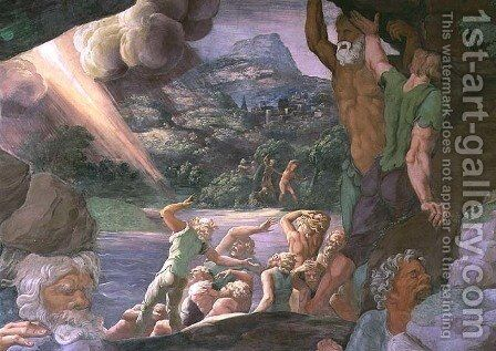 Sala dei Giganti, detail of the destruction of the giants by Jupiters thunderbolts, 1536 5 by Giulio Romano (Orbetto) - Reproduction Oil Painting