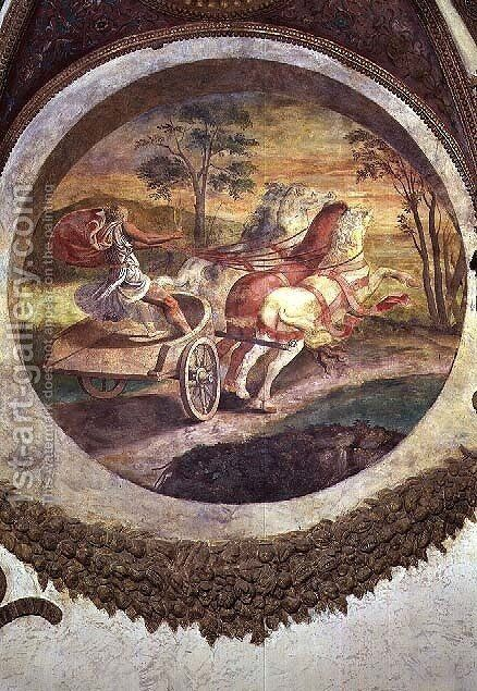 Scene showing that those born under the sign of Scorpio in conjunction with the constellation of the Centaur will be adept at horse-driving, symbolised by a chariot driver, from the Camera dei Venti, 1528 by Giulio Romano (Orbetto) - Reproduction Oil Painting