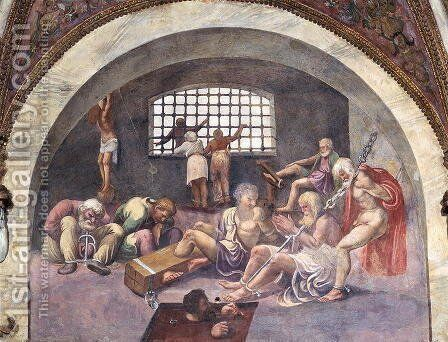 Scene showing that those born under the sign of Sagittarius in conjunction with the setting constellation of Arcturus will be led to commit grave crimes, symbolised by shackled prisoners, from the Camera dei Venti, 1528 by Giulio Romano (Orbetto) - Reproduction Oil Painting