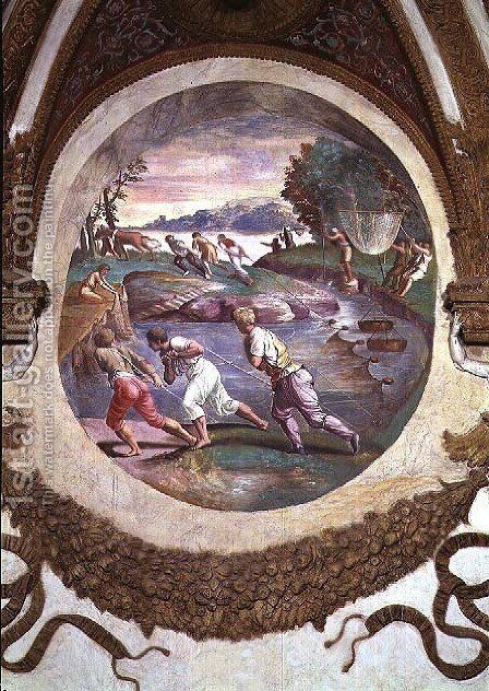 Scene showing that those born under the sign of Cancer in conjunction with the constellation of Mars are imparted with an aptitude for hunting and fishing, symbolised by a scene of fishing with nets, from the Camera dei Venti, 1528 by Giulio Romano (Orbetto) - Reproduction Oil Painting
