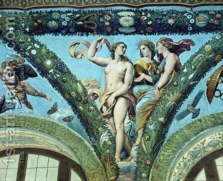 The Three Graces, from the Loggia of Cupid and Psyche, 1510-17 by Giulio Romano (Orbetto) - Reproduction Oil Painting