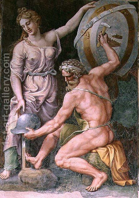 Vulcan forging the armour of Achilles by Giulio Romano (Orbetto) - Reproduction Oil Painting