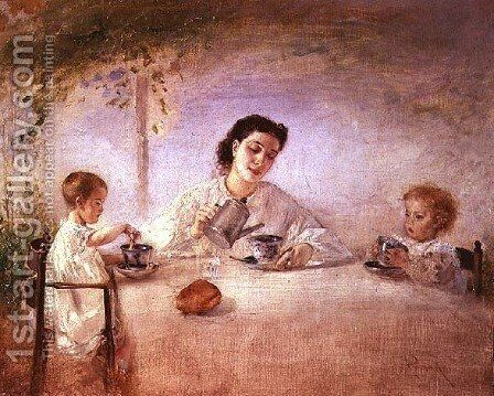 The artists wife Sophie with their daughters Mathilda and Adele, 1873 by Anton Romako - Reproduction Oil Painting