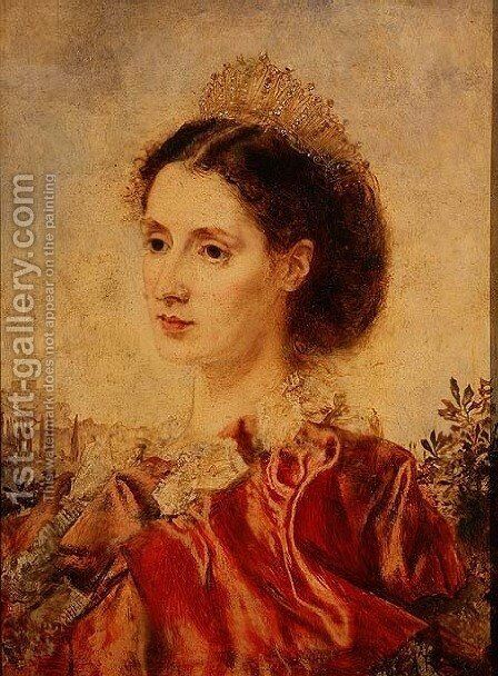 Portrait of Mrs Henry Francis Makins in Fancy Dress by Anton Romako - Reproduction Oil Painting