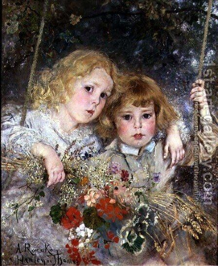 Portrait of Ernest and Beatrice Makins on a Swing by Anton Romako - Reproduction Oil Painting