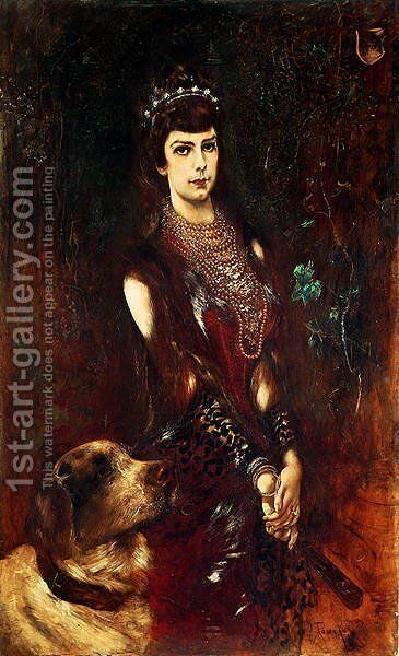 Empress Elizabeth of Bavaria 1837-98 by Anton Romako - Reproduction Oil Painting