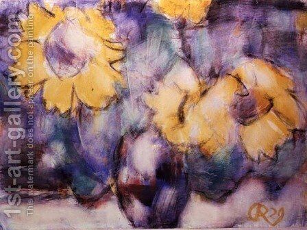 Sunflowers in a Vase by Christian Rohlfs - Reproduction Oil Painting