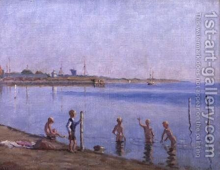 Boys at Waters Edge by Johan Rohde - Reproduction Oil Painting