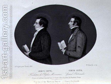 Portrait of Joseph 1805-44 and Hyrum d.1844 Smith, Founder and Great Patriarch of the Mormon Church, engraved by W. Edwards after the painting in Nauvoo, book illustration from A Journey to Great Salt Lake City, Vol II, pub. c.1861 by (after) Rogers, D. - Reproduction Oil Painting
