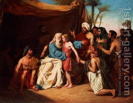 Jacob refusing to release Benjamin, 1829 by Adolphe Roger - Reproduction Oil Painting