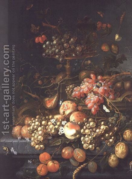 Still life of fruit on a ledge by Coenraet Roepel - Reproduction Oil Painting