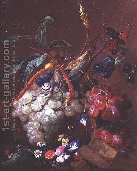 Still life with fruit, wheat and insects by Coenraet Roepel - Reproduction Oil Painting