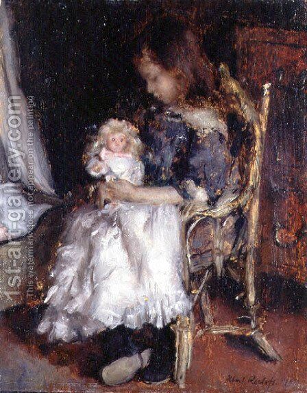 Girl Holding her Doll by Albert Roelofs - Reproduction Oil Painting