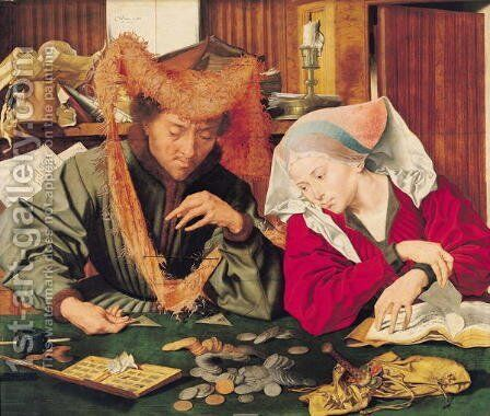 The Money Changer and his Wife, 1539 by Marinus van Roejmerswaelen - Reproduction Oil Painting