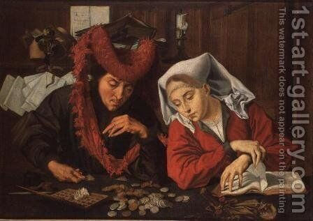 The Banker and his Wife, 1538 by Marinus van Roejmerswaelen - Reproduction Oil Painting