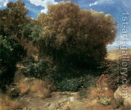 Campagna Landscape 1857-58 by Arnold Böcklin - Reproduction Oil Painting