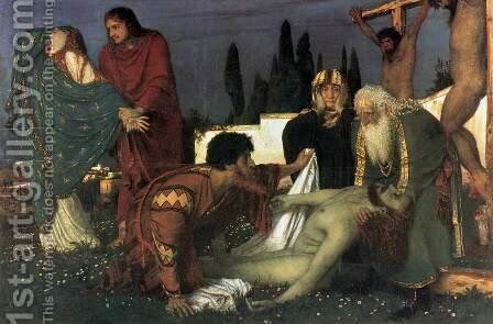 The Deposition 1871-74 by Arnold Böcklin - Reproduction Oil Painting