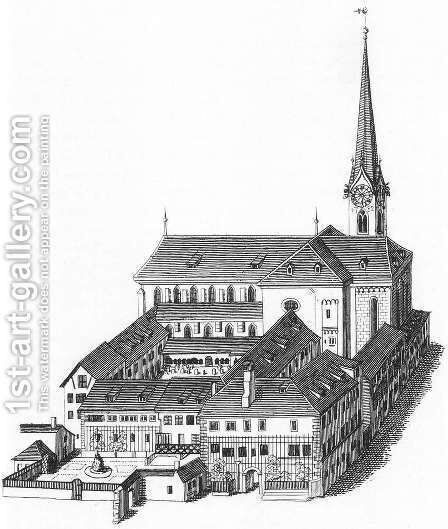 The Fraumunsterkirche in Zurich 1830 by Heinrich Keller - Reproduction Oil Painting