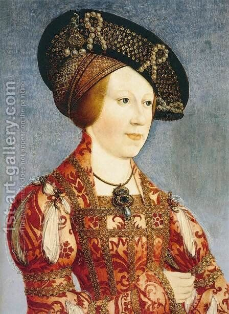 Queen Anne of Hungary and Bohemia c. 1519 by Hans Maler - Reproduction Oil Painting
