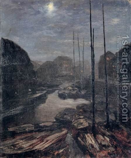 Moonlight on the Friedrichskanal in Old Berlin c. 1856 by Adolph von Menzel - Reproduction Oil Painting