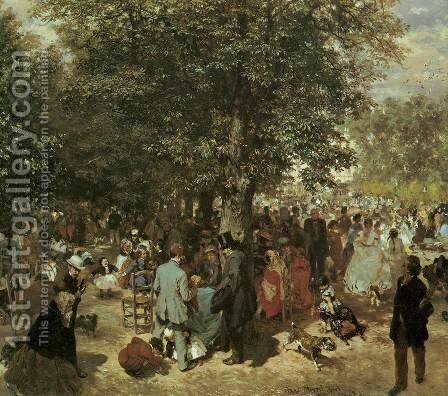 Afternoon at the Tuileries Garden by Adolph von Menzel - Reproduction Oil Painting