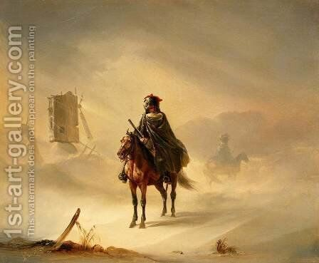 Two French Hussars on Patrol in Winter by Auguste Raffet - Reproduction Oil Painting