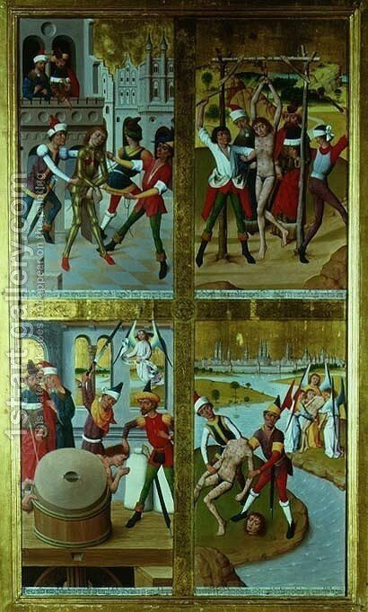 Scenes from the Life of St. Victor from the Inner Section of the Right Exterior Wing of the Former Main Altar in St. Nicholass Church, 1481 by Hermen Rode - Reproduction Oil Painting