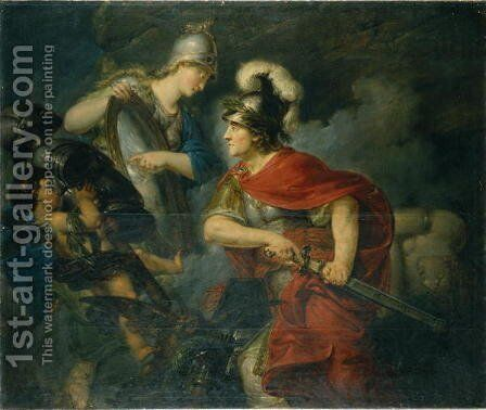 Minerva Showing her Envy in the Polished Shield by Christian Bernhard Rode - Reproduction Oil Painting