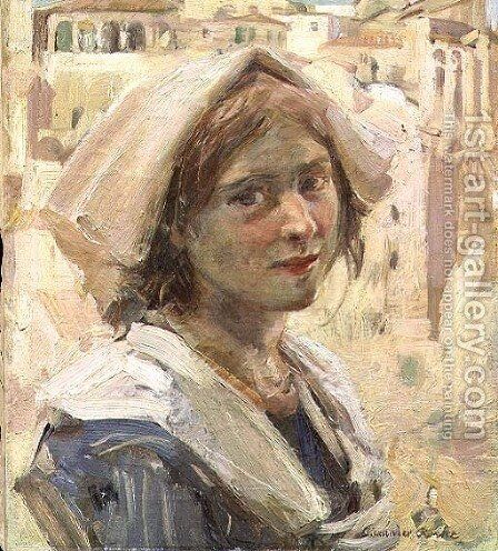 Italian Peasant Girl by Alexander Ignatius Roche - Reproduction Oil Painting