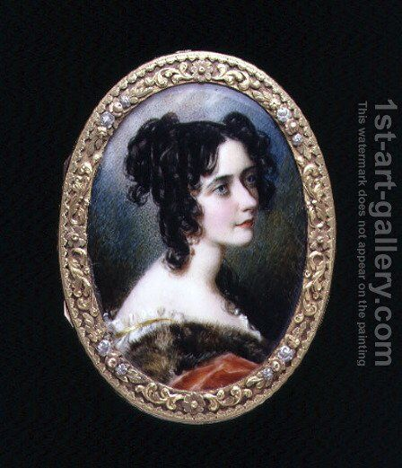 Portrait miniature of Georgina Carolina, Lady Astley, c.1827 by Simon Jacques Rochard - Reproduction Oil Painting