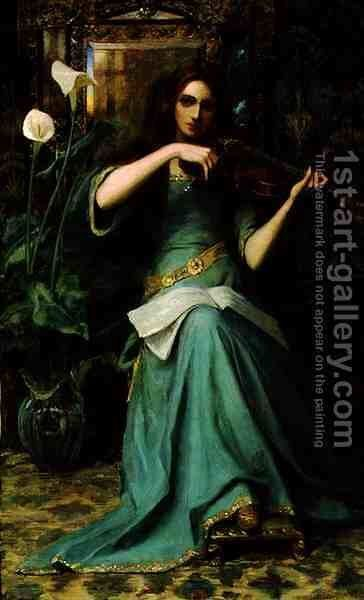 Girl with a Violin by Henry Harewood Robinson - Reproduction Oil Painting