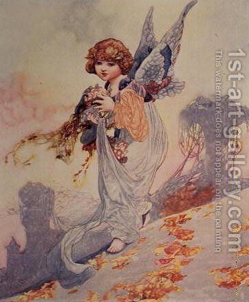 Angel Scattering Autumn Leaves by Charles Robinson - Reproduction Oil Painting
